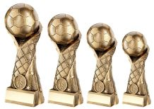 GOLD 3D FOOTBALL ON NET COLUMN RISER